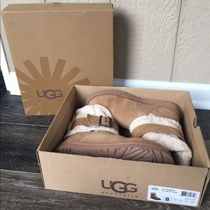 Ugg Cassidee Chestnut Suede Buckle Size 8 Boots